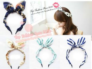 New Japan Korean Style Cute Bow Stripes Retro Ear Headband