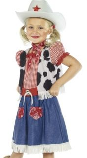 Kids Cowgirl Girls Western Rodeo Halloween Costume + Hat