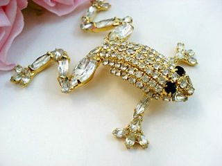 Vintage Dorothy BAUER Jewelry Costume Rhinestone Frog Brooch