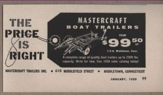 1959 Vintage Ad Mastercraft Boat Trailers Middletown,Con​necticut