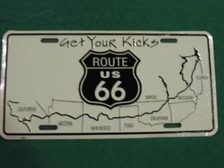 ROUTE 66 METAL LICENSE PLATE GET YOUR KICKS SIGN L003