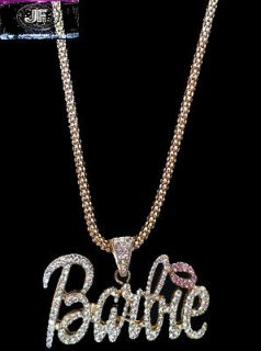 Friday Pre Sale Nicki Minaj 3 BARBIE Iced Out Necklace Gold/Clear