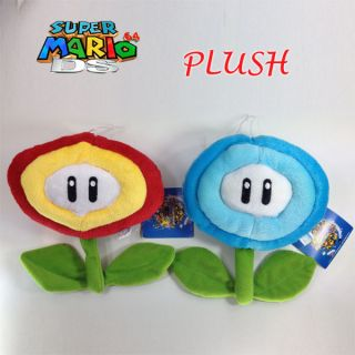 2X Super Mario Bros Plush Ice Flower & Fire Flower Soft Toy Doll