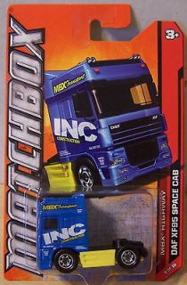 ctd Matchbox 2012 #088/120 DAF SF95 Space Cab Semi Truck blue/inc/yw