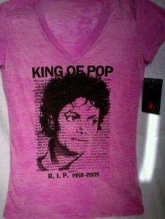 MICHAEL JACKSON T SHIRT RIP Womens Pink medium