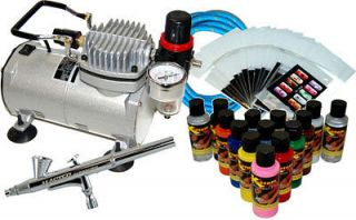 AIRBRUSH KIT SET Air Compressor Paint 20pk Stencil Design Dual Action