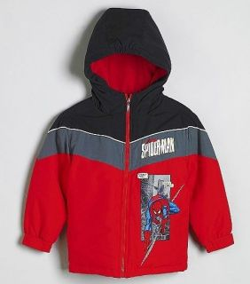 SPIDER MAN MARVEL Boys Fleece Lined Winter Coat Jacket NWT Size 4, 5