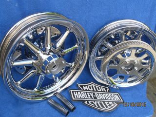 Harley SHOW Chrome Wheels Fatboy Heritage Softail 9 Spoke INCL ROTORS