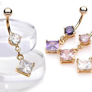 Square Dangle Clear Gem Gold Plated Navel Belly Ring Body Piercing