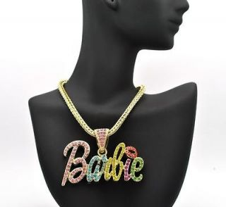 FULLY ICED OUT NICKI MINAJS PINK LIP BARBIE PENDANT PIECE NECKLACES