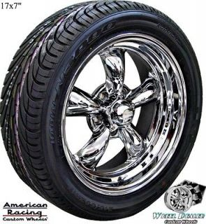 17 CHROME AMERICAN RACING TORQ THRUST II WHEELS & TIRES FOR CHEVY BEL