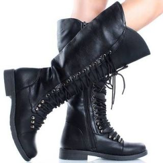 Black Lace Up Zipper Combat Military Womens Flat Knee High Boots Size