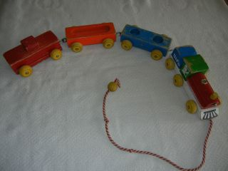 VINTAGE FISHER PRICE SIFO WOODEN PULL TOY TRAIN CARS WITH CABOOSE