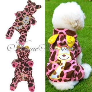 Pet Dog Cat Pink Giraffe Fleece Clothes Apparel Hoodie Jumpsuit XXL/XL