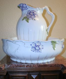 Antique Saint Ghislain Floral Pitcher and Bowl Set Belgium