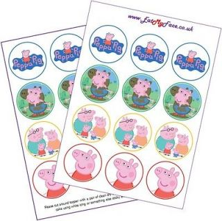 24x PEPPA PIG Edible Fairy Cup Cake Toppers Decoration #EatMyFace