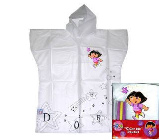 Nick Jr Dora The Explorer Kids Girls Rain Coat Poncho w/ Markers 3