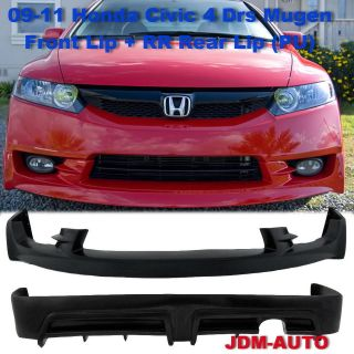09 11 Honda JDM Style Civic Mugen Front Bumper Lip Kit + RR Rear Lip