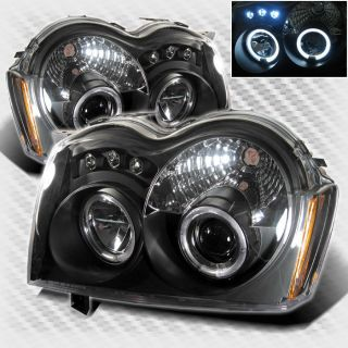 Grand Cherokee Twin Halo LED Projector Headlights Black Head Lights