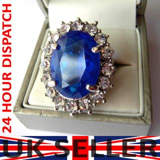 Ring silver color blue Zirconia gemstone kate middleton wedding ring
