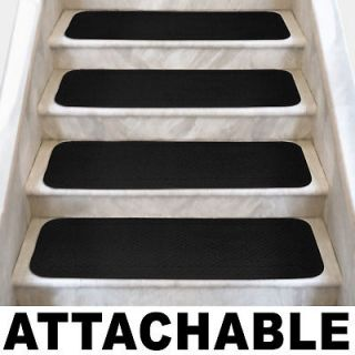 Set of 12 ATTACHABLE Carpet Stair Treads 8x23.5 BLACK runner rugs