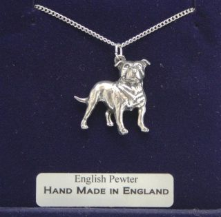 Staffordshire Bull Terrier Dog Necklace, English Pewter, Hand Made