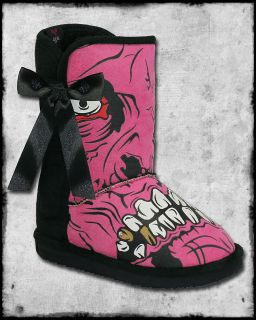 GOLD DIGGER PINK BLACK ZOMBIE STOMPER WINTER SHERPA BOW FUR FUG BOOTS