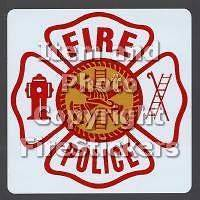 Large 4 Reflective FIRE POLICE Maltese Cross Stickers #138 4(2)