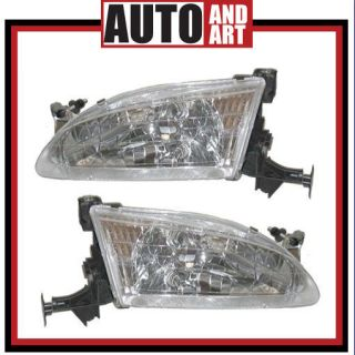 Set Headlight Headlamp Assembly SAE DOT Stamped 98 00 Toyota Corolla