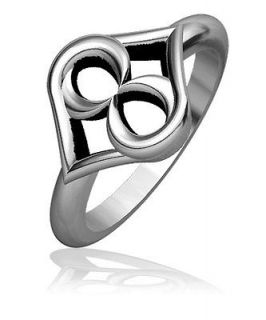 One Infinity Hearts Ring Style #2 with Black Finish, Love Ring, 11.5mm