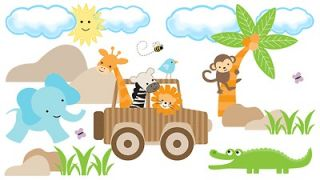 MONKEY ZEBRA GIRAFFE JEEP NURSERY BABY WALL MURAL STICKERS DECALS