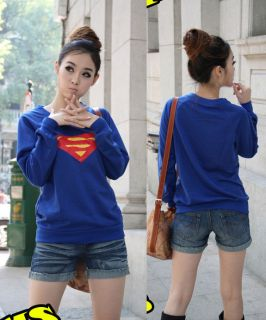 Women Girl Fashion Casual Superman Print Long Sleeve Blue T shirt Top