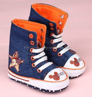 Baby Boy Mickey Mouse Denim Crib Shoes High Top Boots Size 0 6 6 12 12