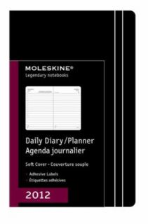 Moleskine 2012 12 Month Daily Planner Black Soft Cover Large by