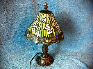 13.5 Ht Mosaic Glass Electric Table Lamp Colored with Copper Brass