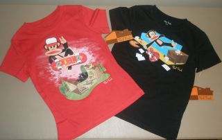 Paul Frank Julius Monkey Boys Red Skateboard Black Rocker T Shirt LOT