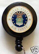 US AIR FORCE USAF Retractable Reel ID Badge Holder/Key chain ring