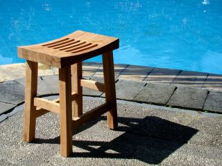 Grade A Teak Wood Curved Seat Shower Bath Spa Stool Bench Outdoor
