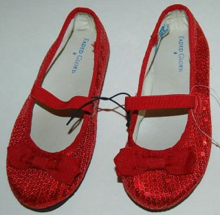 FADED GLORY INFANT Girls RED SEQUIN Shoes BALLET FLATS with BOW Size 2