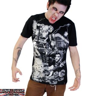 DARKSIDE CLOTHING DINER BLACK T SHIRT HORROR ZOMBIE MONROE BETTY PAGE
