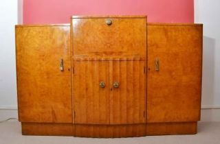 Antique Art Deco 1920 Birdseye Maple Drinks Bar Cabinet