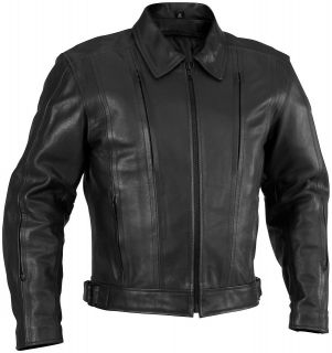 NEW RIVER ROAD MENS CRUISER LEATHER MOTORCYLE JACKET, BLACK, US 46