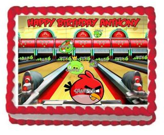 Sheet Angry Birds Bowling Birthday Party Edible Cake Frosting