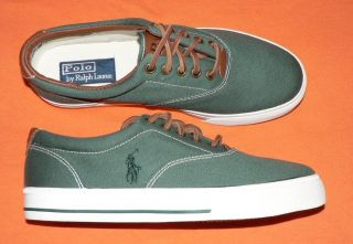 Polo Ralph Lauren Vaughn mens shoes canvas leather sneakers new green