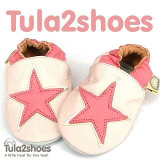 Tula2shoes GORGEOUS SOFT LEATHER BABY GIRLS SHOES Pink Star 0  6  12