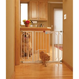 Carlson 0930PW Extra Wide Walk Thru Gate with Pet Door White