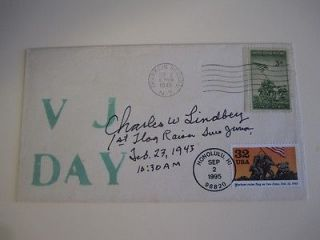 Charles W. Lindberg SIGNED AUTOGRAPHED First Day Cover Iwo Jima B