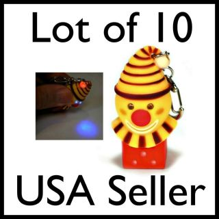 LOT of 10 LED CRAZY CLOWN KEY CHAIN Light Sound Noise Toy Ring NEW