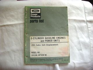 1974 FORD POWER PRODUCTS PARTS LIST 6 CYLINDER GASOLINE ENGINES