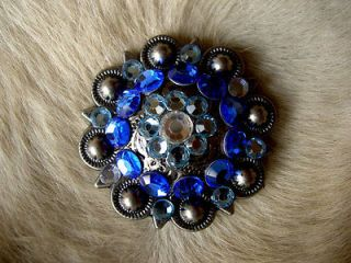 BERRY CRYSTALS BLING CONCHOS HORSE SADDLE HEADSTALL TURQUOISE BLUE